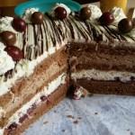 Schoko-Sahne-Torte mit Kirschen