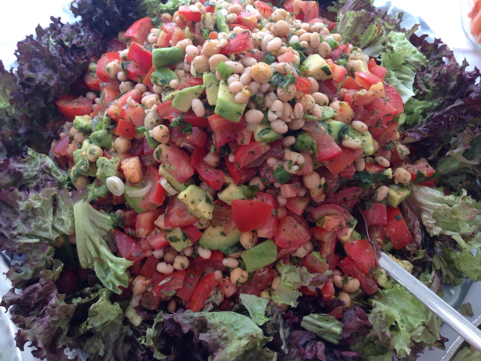 Kichererbsen-Bohnen-Avocado-Tomaten Salat