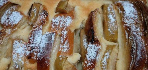 Buttermilch-Scheiterhaufen mit Äpfel