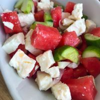 Wassermelone-Gurke-Feta-Salat